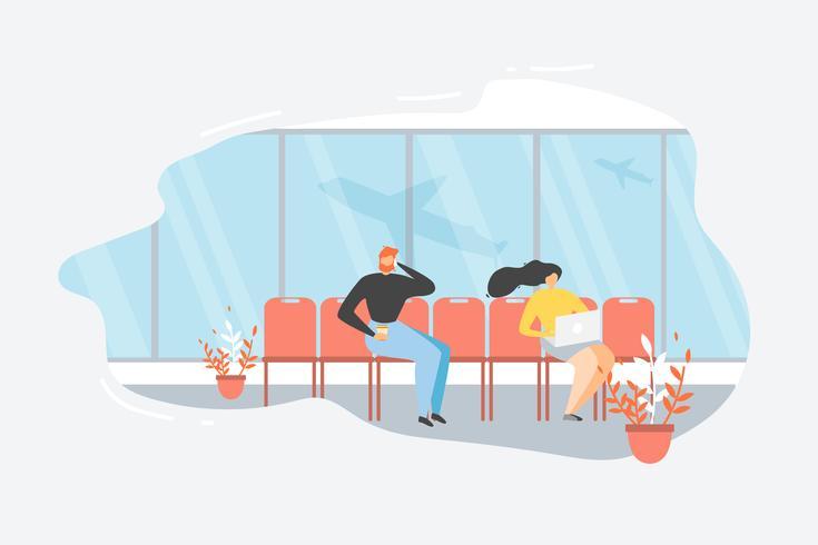 Passagier wachtende vlucht op luchthaven vector