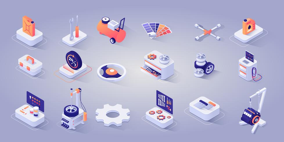 Set van reparatie service iconen vector