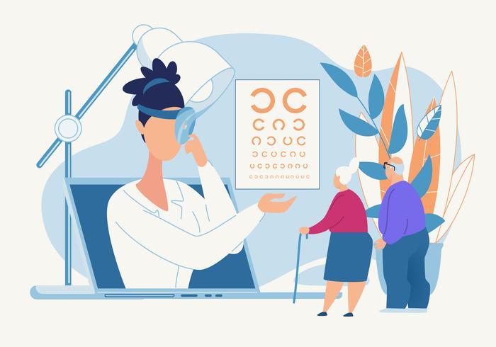 Oogdiagnose door een oogarts-poster vector