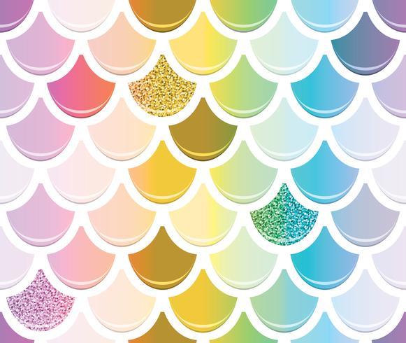 Zeemeermin staart naadloze patroon met gouden glitter-elementen vector