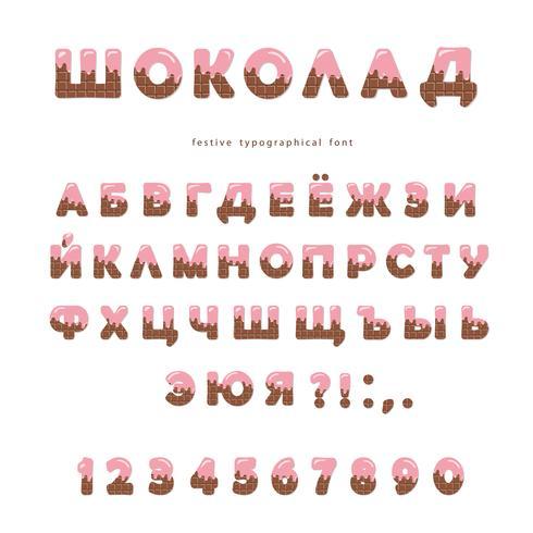 Chocolade wafel lettertype vector