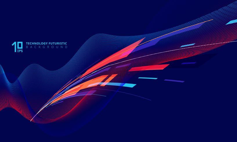 Perspectieftechnologie draaiende lijnen op donkerblauw vector