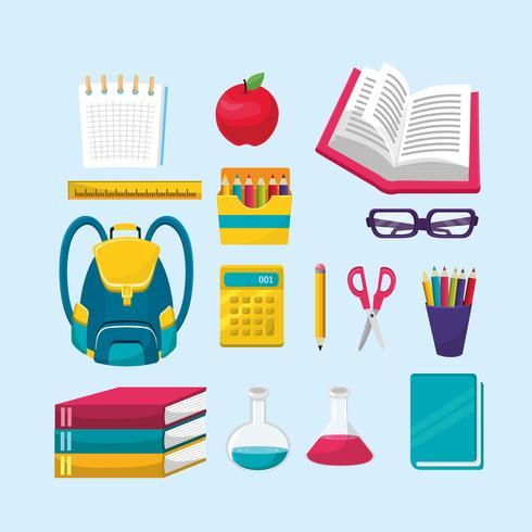 Set van items terug naar school vector