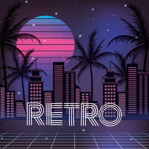 retro stad met palmen en geometrische zon vector
