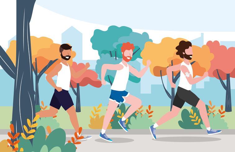mannen lopen door park of bos vector