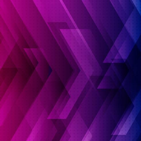 Blauwe, paarse en roze technische achtergrond met grote pijlen vector