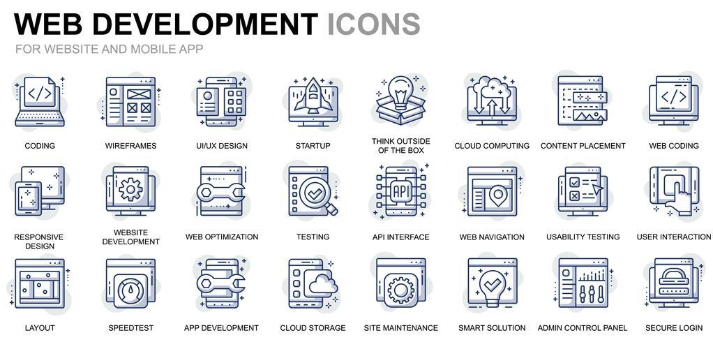 Webdesign en ontwikkeling Line Icons vector