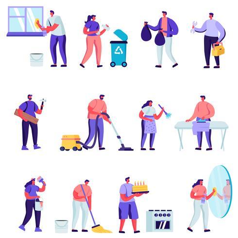 Set van platte huishoudelijke activiteiten, man voor een uur Set vector