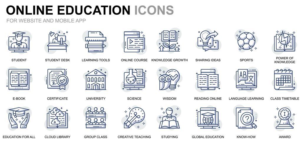 Onderwijs en kennis lijn pictogrammen vector