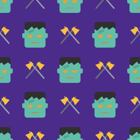 Halloween naadloos patroon met monster en assen vector