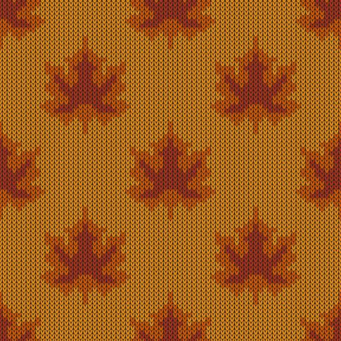 Herfst esdoorn bladeren gebreide patroon vector