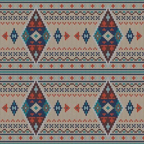 Geometrisch kleurrijk etnisch gebreid patroon vector