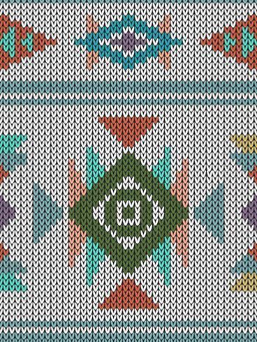 Geometrisch etnisch gebreid patroon met driehoeken en diamanten vector