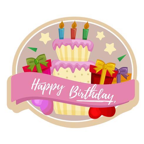 verjaardagstaart label met cake en geschenken vector