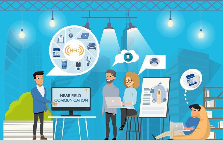 Freelance NFC-presentatie in Coworking Space vector