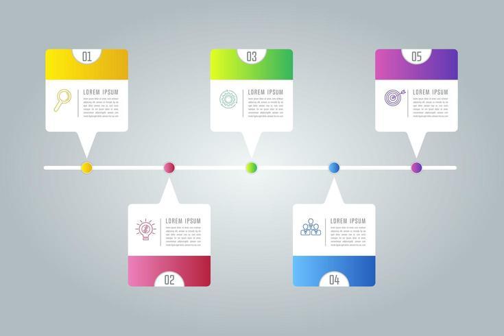 Creatief concept voor infographic met 5 opties, onderdelen of processen. vector