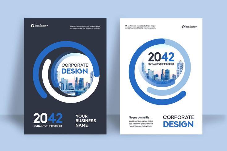 Stad achtergrond ontwerpsjabloon voor zakelijke boekomslag vector