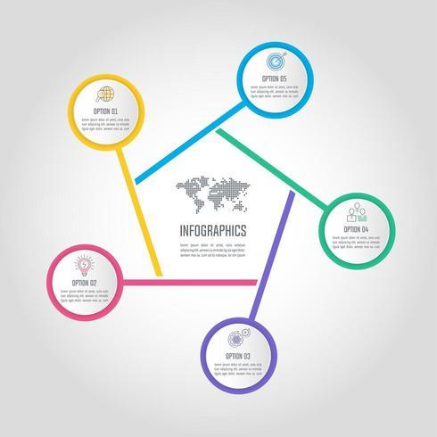 infographic ontwerp bedrijfsconcept met 5 opties, onderdelen of processen. vector