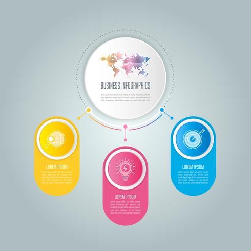 infographic ontwerp bedrijfsconcept met 3 opties, onderdelen of processen. vector