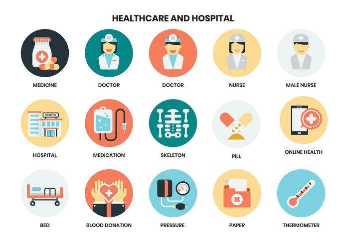 Ziekenhuis en gezondheidszorg pictogrammen instellen vector