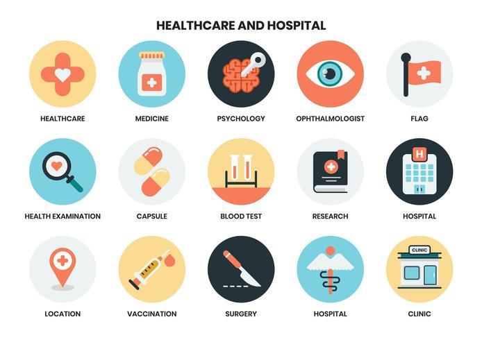 Ziekenhuis en gezondheidszorg pictogrammen vector