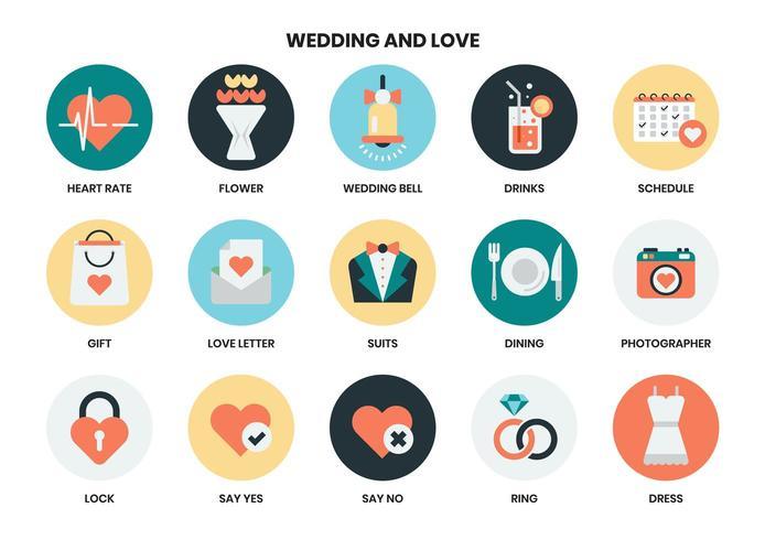 Bruiloft en liefde pictogrammen instellen vector