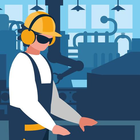 fabrieksarbeider in fabriek vector