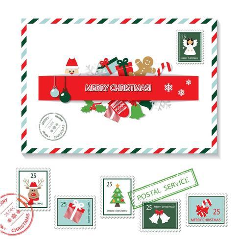 Kerst envelop en postzegels instellen vector