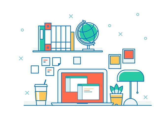 Bureau instelling met laptop in kaderstijl vector