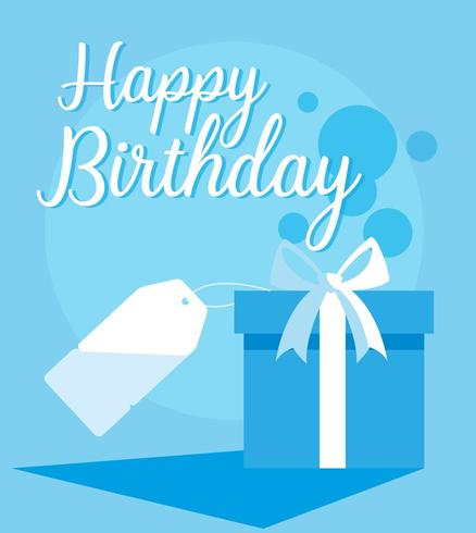 gelukkige verjaardagskaart met geschenkdoos en tag vector