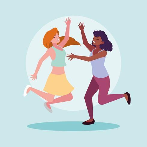 groep jonge vrouwen vieren vector