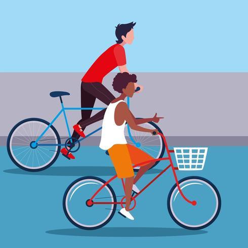 jonge mannen fietsen vector