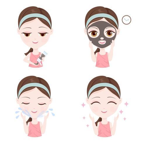 Meisje dat toont hoe een kleimasker op uw gezicht te gebruiken vector
