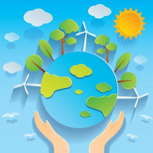 Hand met Globe Earth Day afbeelding in papier gesneden stijl vector