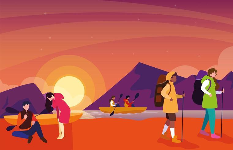 campers in prachtige landschap zonsondergang vector