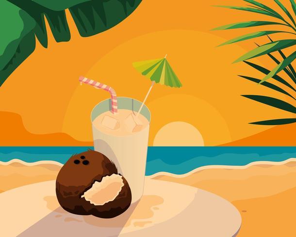 Vers kokosfruit en sap vector