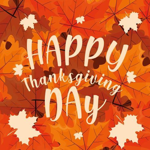 Happy Thanksgiving Day met bladeren vector