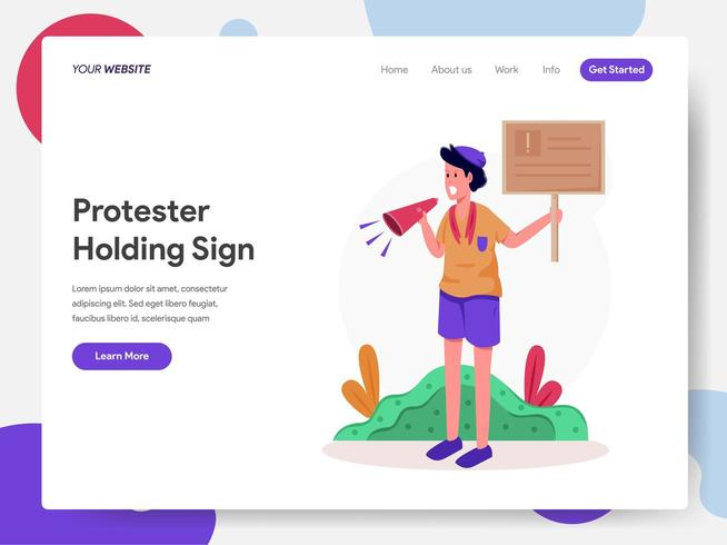Protesteerder Holding Sign Illustratie Concept vector