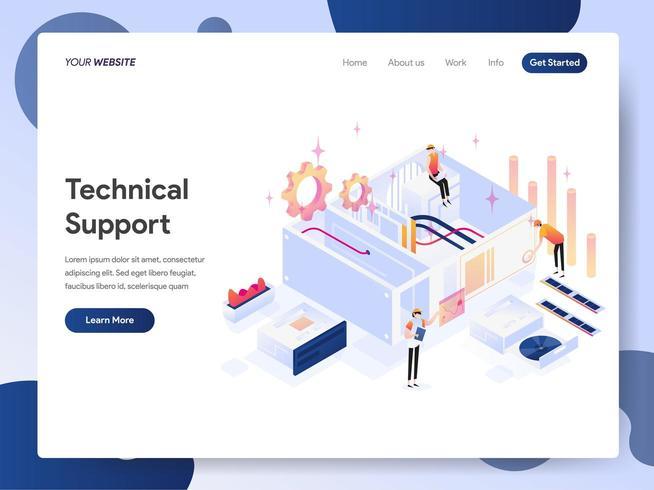 Technische ondersteuning isometrische illustratie Concept vector
