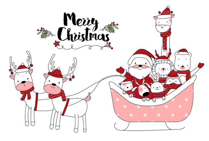 Leuke dieren vrolijk kerstfeest in slee hand getrokken ontwerp vector