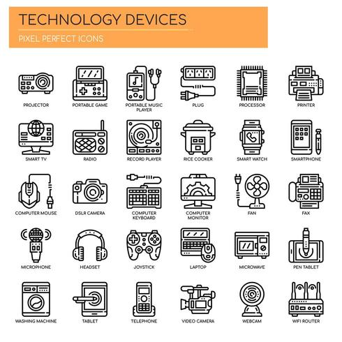Verzameling van Thin Line Technology Device Icons vector