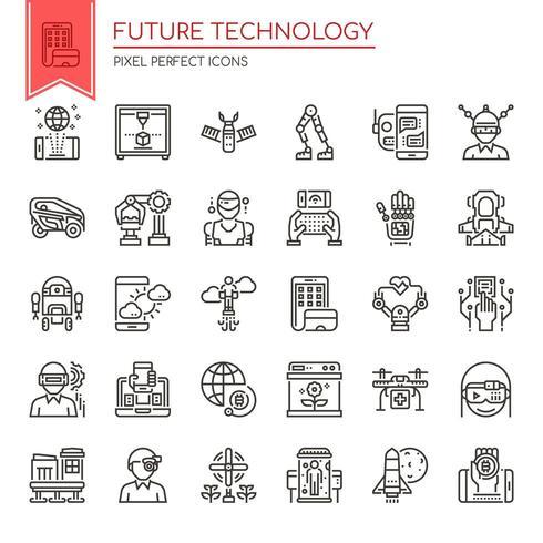 Set van zwart-wit dunne lijn pictogrammen van de toekomst technologie vector