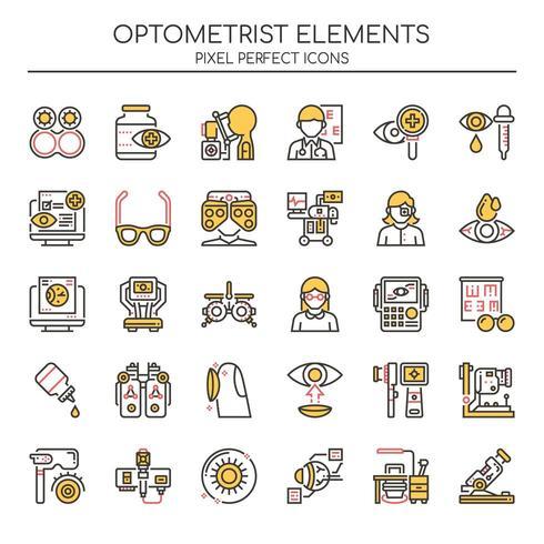 Set van duotoon kleuren optometrist pictogrammen vector