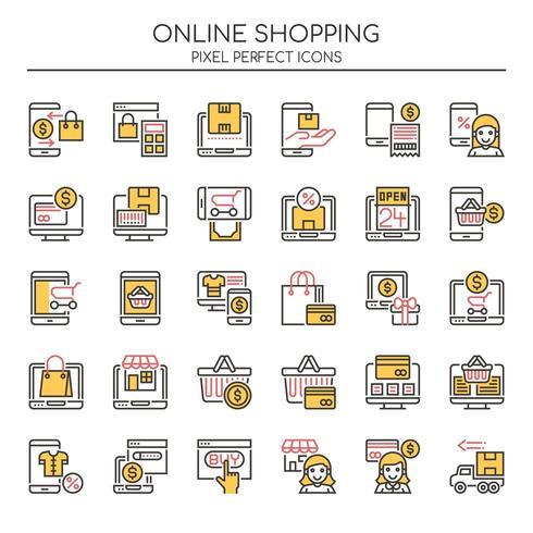 Set van Duotone dunne lijn Online winkelen pictogrammen vector