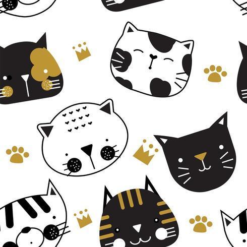 Leuk zwart en goud katten naadloos patroon vector