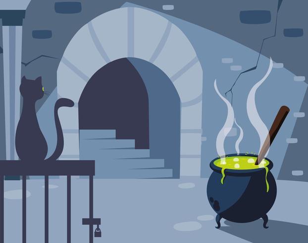 hol scène met zwarte kat en ketel vector
