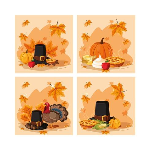 pelgrim hoed van thanksgiving day set vector