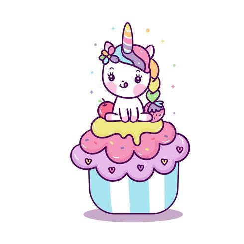 Leuke Eenhoorn op cupcake vector