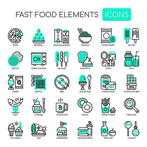 Set monochroom dunne lijn fastfood elementen vector