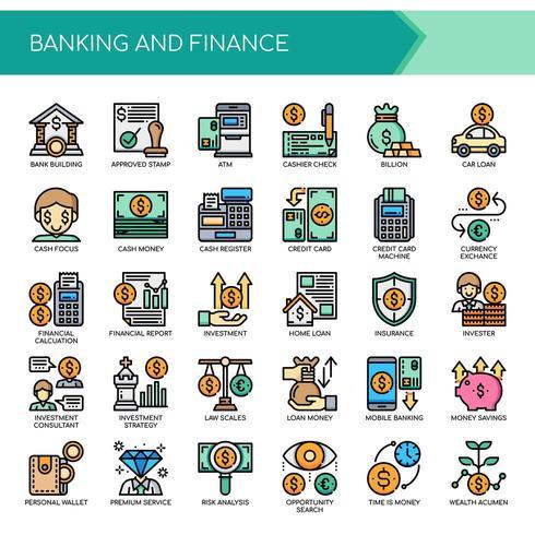 Set van kleur dunne lijn bank- en financieringspictogrammen vector